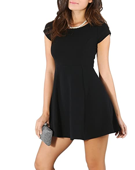 653b967603 ICONOFLASH Women s Short Sleeve Fit   Flare Dress at Amazon Women s ...