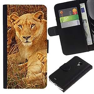 LASTONE PHONE CASE / Lujo Billetera de Cuero Caso del tirón Titular de la tarjeta Flip Carcasa Funda para Samsung Galaxy S4 Mini i9190 MINI VERSION! / Cubs Lion African Savannah Nature Animal