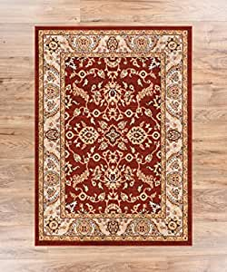 Barton red sarouk vintage modern casual for Dining room rugs 5x7