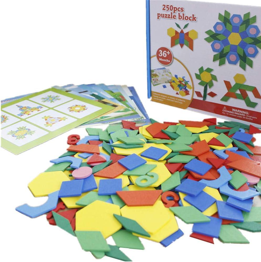 Gobus 250 Piezas Colorido Rompecabezas de Madera Tangram Rompecabezas matemáticas Color DIY Inteligencia Juguetes educativos para niños