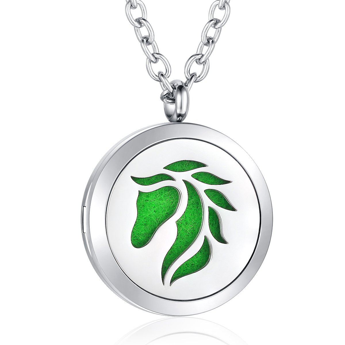 AZORA Essential Oil Diffuser Necklace Horse Aromatherapy Locket Stainless Steel Pendant Jewelry for Women Girls Boys Kids