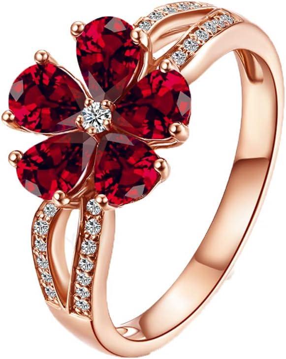 YCGEMS Sólido Oro Rosa de 18 Quilates Anillo de Banda de eternidad Tradicional con rubíes y Diamantes (1.6cttw),R1/2