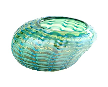 Amazon New 10 Hand Blown Art Glass Vase Bowl Green Patterned