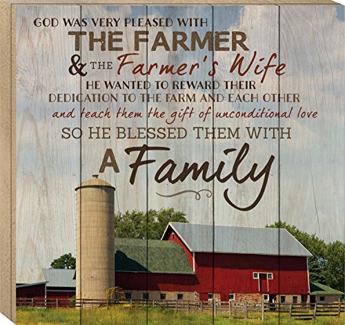 P GRAHAM DUNN God Made a Farmer Paul Harvey Red Barn 17 x 18 Wood Boxed Pallet Wall Art Sign Plaque