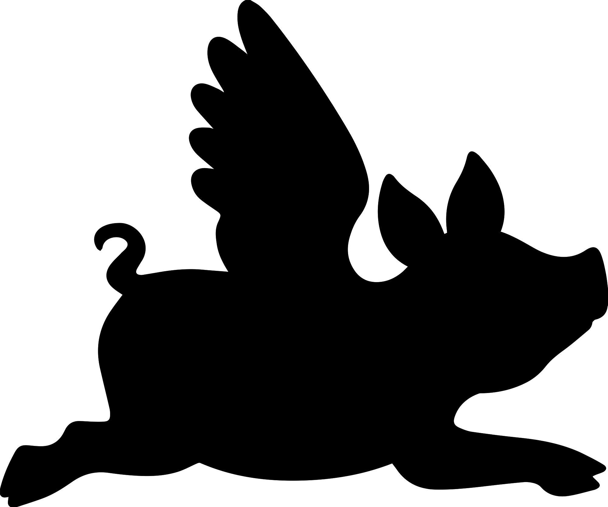 ANGDEST Flying Pig Silhouette (Black) Waterproof Vinyl Decal Stickers for Laptop Phone Helmet Car Window Bumper Mug Tuber Cup Door Wall Decoration