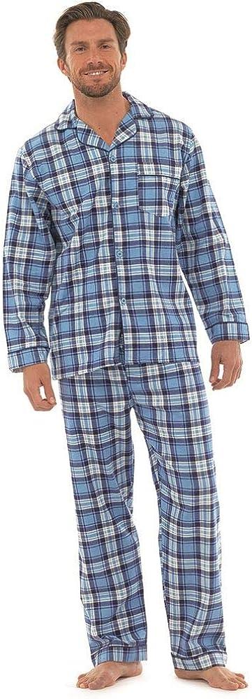 Grey or Blue Undercover Lingerie Ltd Mens Warm Brushed Flannel 100/% Cotton Check//Stripe Pyjamas M-2XL Navy