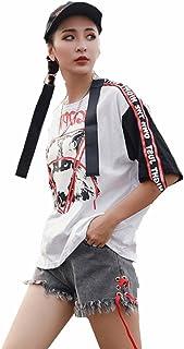SLR Estate t-Shirt Hip-Hop Nastro a Maniche Corte t-Shirt t-Shirt personalità Femminile Selvaggio Vento Studenti Fan
