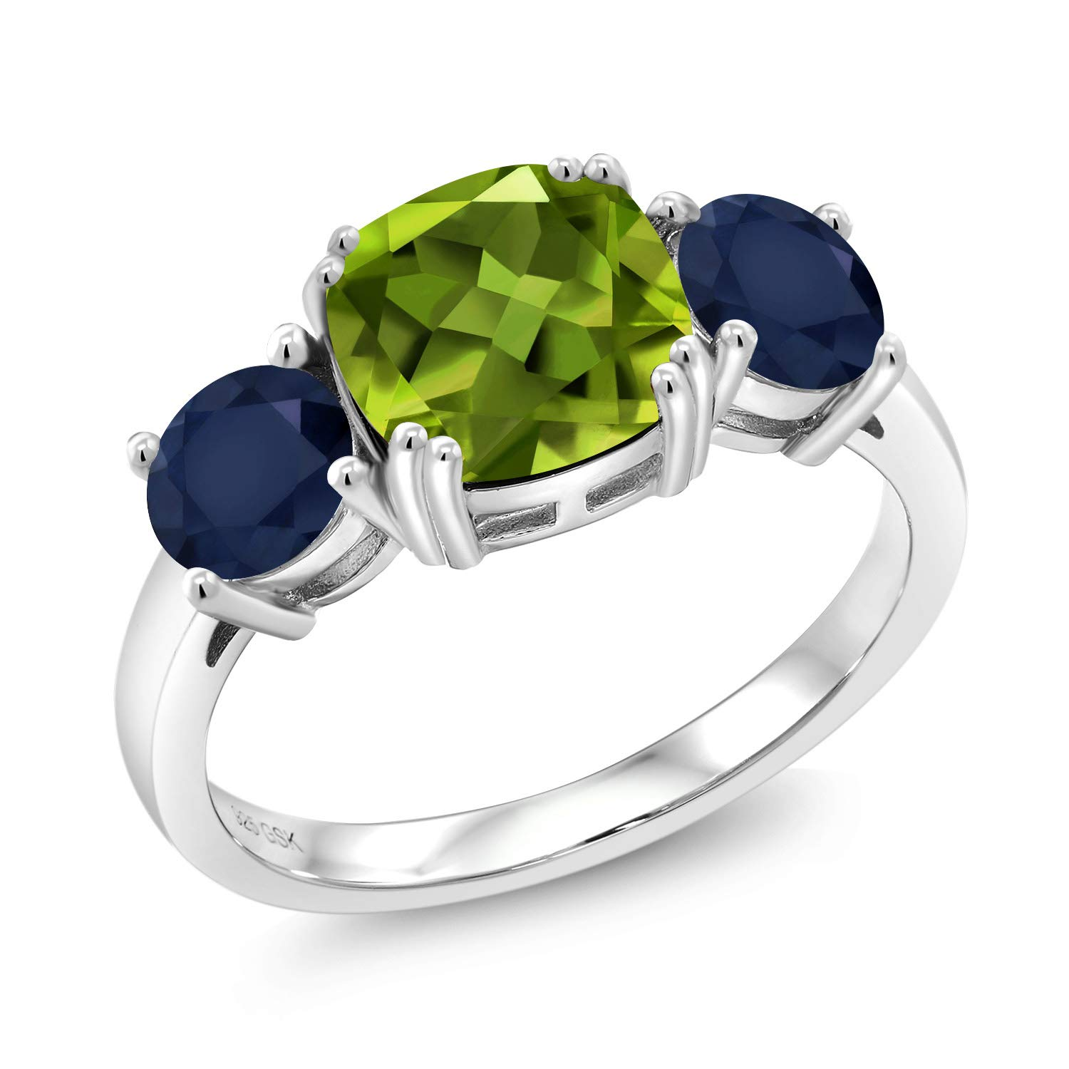 Gem Stone King 3.65 Ct Cushion Green Peridot Blue Sapphire 925 Sterling Silver Ring (Size 8) by Gem Stone King