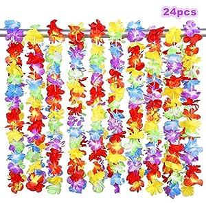 Alimitopia 24pcs Hawaii Hula Leis Dance Garland Artificial Flowers Neck Loop Luau Party Costumes(Multicolor) 30
