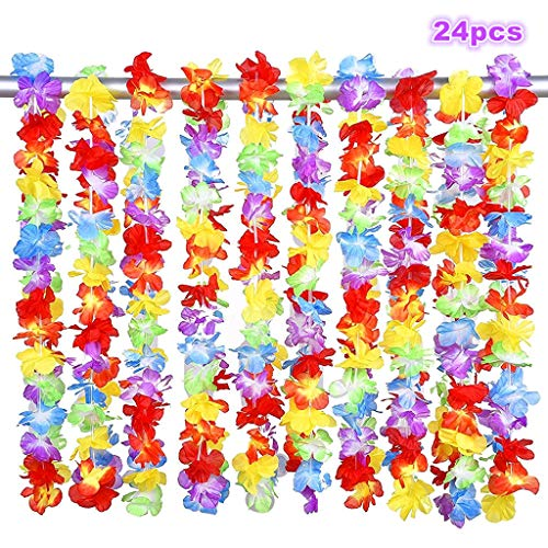 Alimitopia 24pcs Hawaii Hula Leis Dance Garland Artificial Flowers Neck Loop Luau Party Costumes(Multicolor)