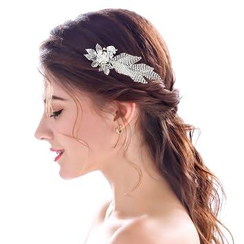 Amazoncom Yean Wedding Hair Side Comb Silver Leaf Flower Vintage
