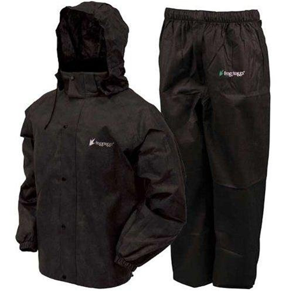 Frogg Toggs All Sport Rain Suit, Black Jacket/Black Pants, Size X-Large