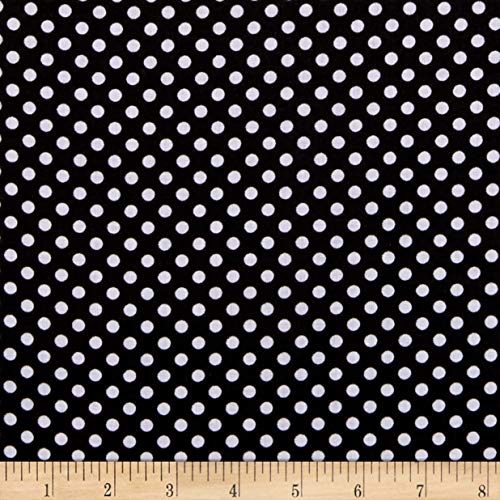 Polka Cotton Dot Fabric - Newcastle Fabrics Polka Dot Black, Fabric by the Yard