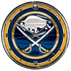 Buffalo Sabres NHL 12 Inch Round Chrome Plated Wall Clock
