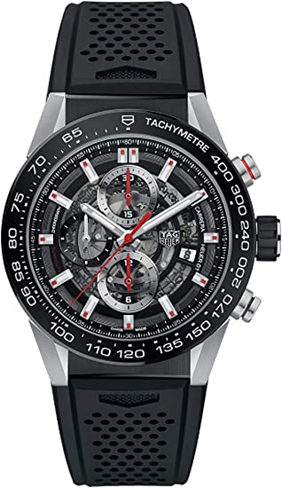 TAG Heuer Carrera reloj para hombres esqueleto Dial W/Negro Goma correa car201 V. ft6046: Amazon.es: Relojes