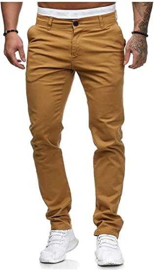 YAXINHE Men's Regular Fit Thin Classic Fit Mid-Rise Pocketed Pure Color Work Pant