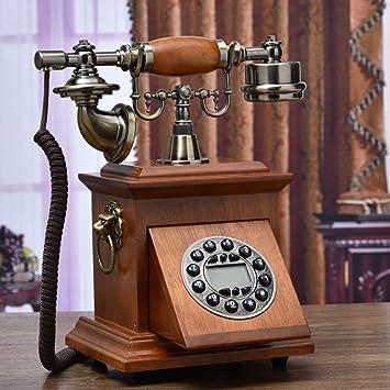 Amazon.com: Teléfonos de madera maciza vintage, cable de ...