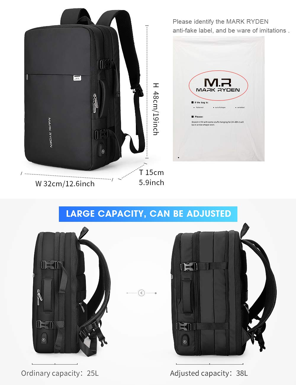 MARK RYDEN 23L/40L Business Carry-on Travel Backpack, Lightweight Flight-Approved Expandable Weekender Bag with USB Charging Port fit 17.3 Laptop by MARK RYDEN (Image #2)