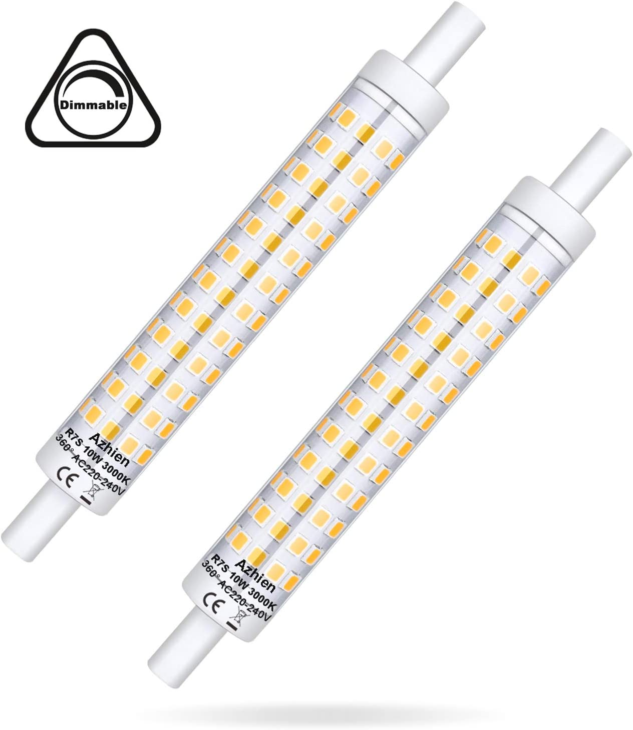 R7S LED Regulable 118mm 10W, Azhien R7S 118mm Doble Extremo J118 Lineal Reflector Bombilla, Luz Blanca Cálida 3000K,Equivalente a 48W 60W 75W Lámpara Halógena, 230V AC,1000LM, 360 grados, pack de 2