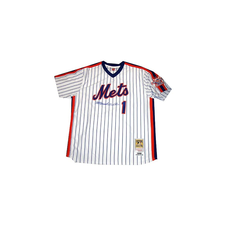 Mookie Wilson M&N 1986 Home Jersey Signed on Front