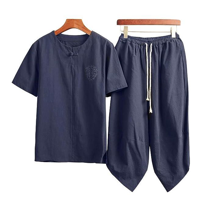 Amazon.com: Pantalones cortos para hombre, 2 piezas, de lino ...