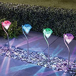 Solar LED Garden Lights Outdoor Diamond Stake Lights Landscape Lighting 7 Color Changing Stainless Steel Pathway Lights for Walkway Patio Yard Lawn Driveway Flowerbed Courtyard Decoration (4 Packs)