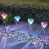 Solar Path Lights Outdoor - Aukora Color Changing Garden Diamond Led Light, ...