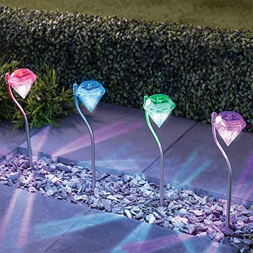 Diamond Garden (Solar LED Garden Lights Outdoor Diamond Stake Lights Landscape Lighting 7 Color Changing Stainless Steel Pathway Lights for Walkway Patio Yard Lawn Driveway Flowerbed Courtyard Decoration (4 Packs))