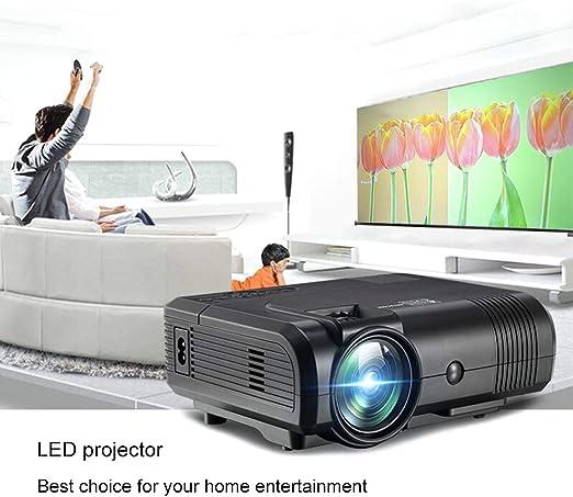 Mini proyector portátil, proyector HD 1080P, proyector de Cine en casa Inteligente, Gran tamaño de proyección de 120 Pulgadas, con Interfaz AV/HDMI/USB/VGA/TF: Amazon.es: Hogar