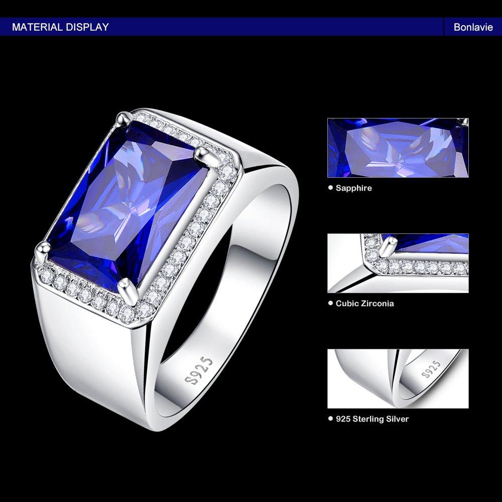 BONLAVIE 7.0ct Square Created Blue Sapphire 925 Sterling Silver Men's Ring Size 6 by BONLAVIE (Image #6)