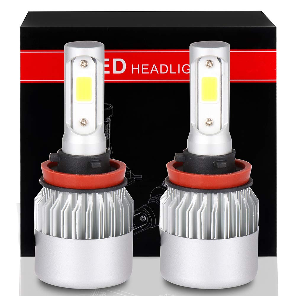 2pcs SCITOO H11//H8//H9 LED Headlight Bulb Conversion Kit High Low Beam Brighter Cree White Light LED Headlight 9600Lm 80W 6000K Focus Light