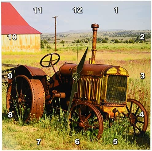 3dRose DPP_93520_1 Oregon, Shaniko. Rusty Vintage Tractor in Field-US38 BJA0269-Jaynes Gallery-Wall Clock, 10 by 10-Inch