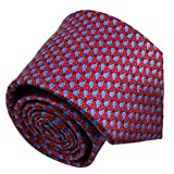 Qobod Silk Necktie Handmade Tie Mens Gift Box red sky blue whale fish