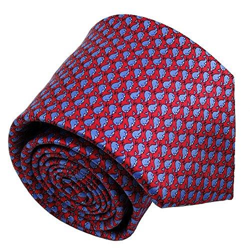 Qobod Silk Necktie Handmade Tie Mens Gift Box red sky blue whale fish by Qobod