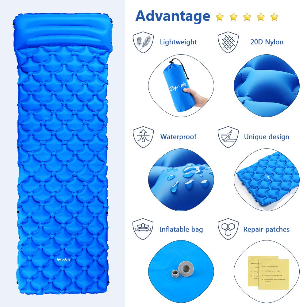 Glymnis Sleeping Pad Hiking Mattress Ultralight Inflatable Camping Mat with Pillow Lightweight Sleeping Mat for Backpacking, Travel, Hiking, Outdoor Activity