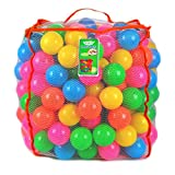 Joyin Toy Pack of 200 Plastic Pit Balls with Foldable Ball Pit Playpen – BPA Free 6 Bright Colors Pit Balls with Ball Pit Tent in Reusable and Durable Storage Mesh Bag with Zipper