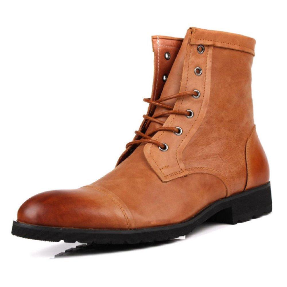 NIUMJ Heißer Einfache Lederstiefel Einfarbige Lederschuhe Hohe Hilfe Komfort Persönlichkeit Einzelne Schuhe Atmungsaktiv Rutschfest Martin Stiefel