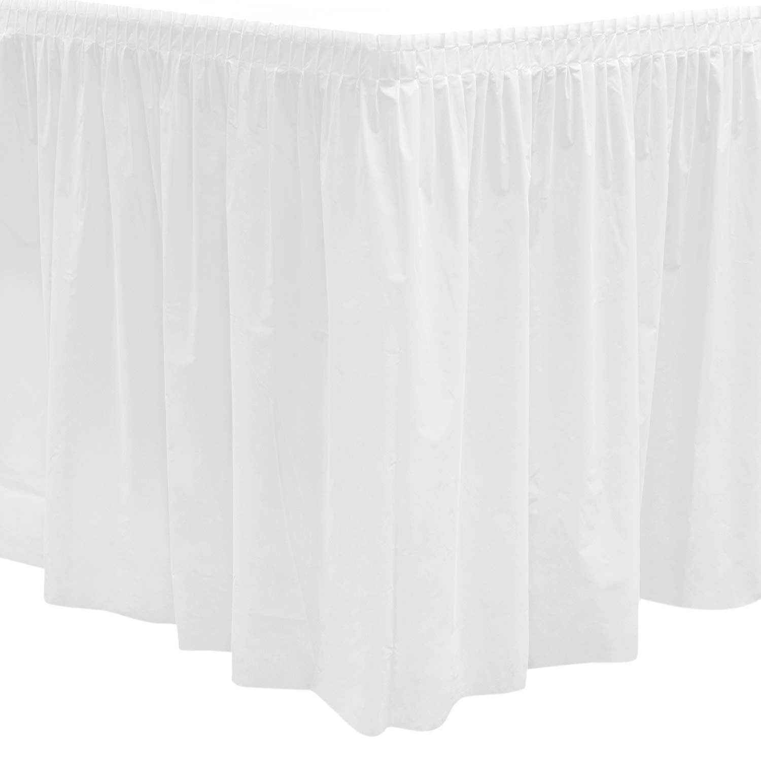 Party Essentials Plastic Table Skirt, 96'' Length x 29'' Width, White (Case of 6)