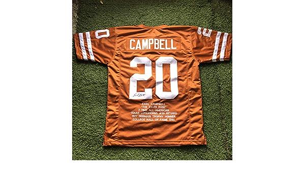 Earl Campbell #20 Signed Texas Longhorns Career Highlight Stat ...