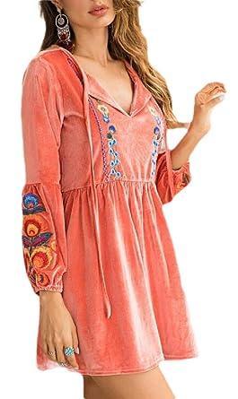 SOWTKSL - Falda de Terciopelo para Mujer, diseño Floral Rosa Rosa ...