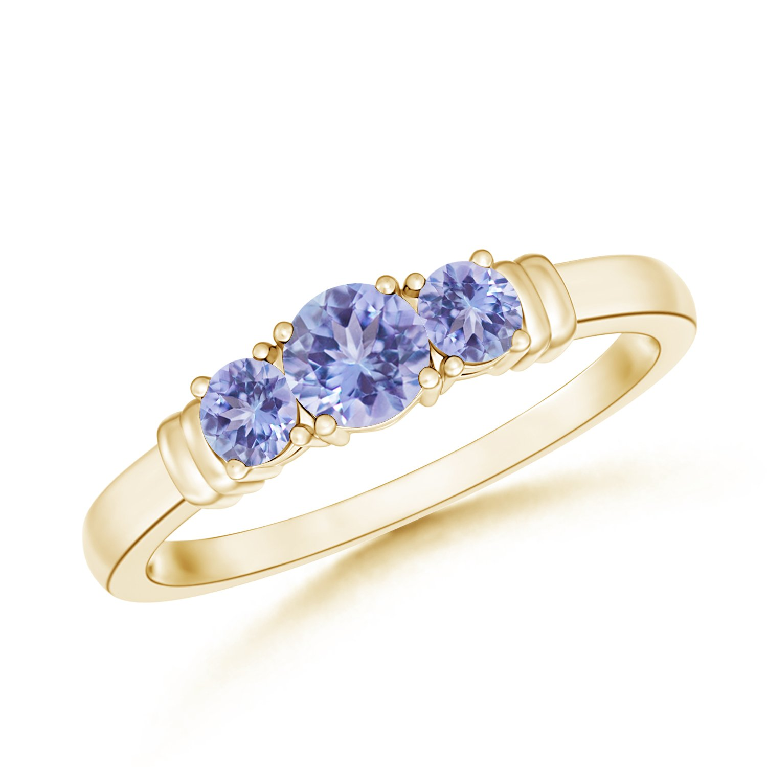 December Birthstone - Vintage Style Three Stone Tanzanite Wedding Ring for Women in 14K Yellow Gold (4mm Tanzanite) by Angara.com