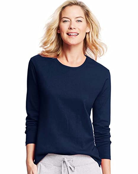86965188215f Image Unavailable. Image not available for. Color: Hanes Women's Long-Sleeve  Crewneck T-Shirt_Navy_L