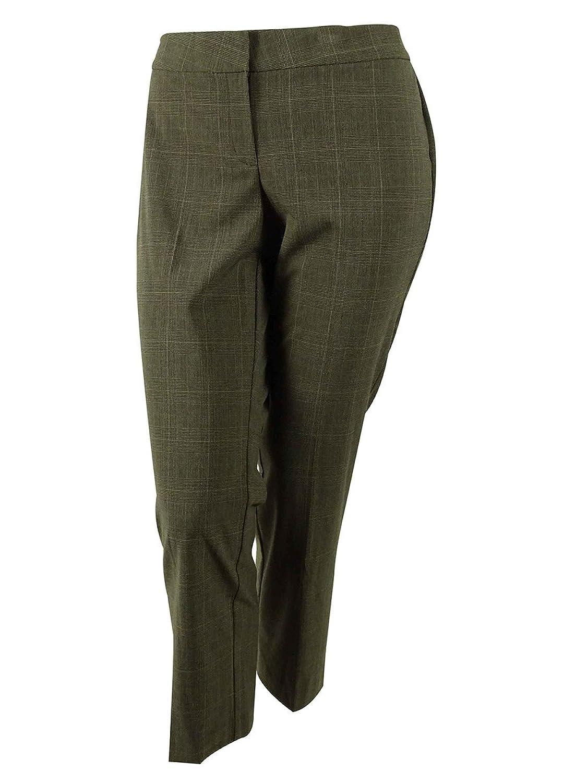 JM Collection Women's Plaid Curvy Fit Pants
