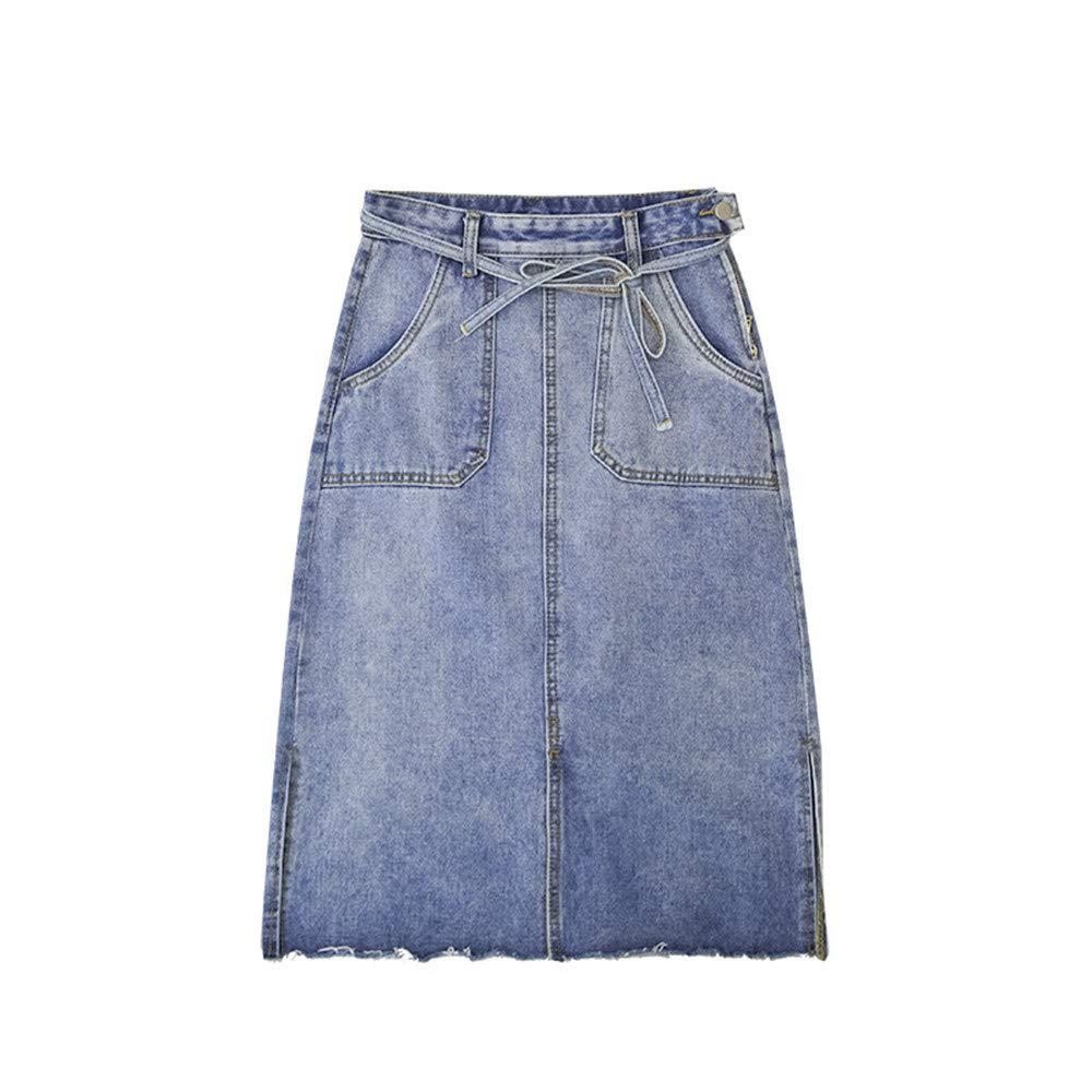 c91574204 Women's Stretch Denim High Waist Pencil Skirt Midi Knee Length at Amazon  Women's Clothing store: