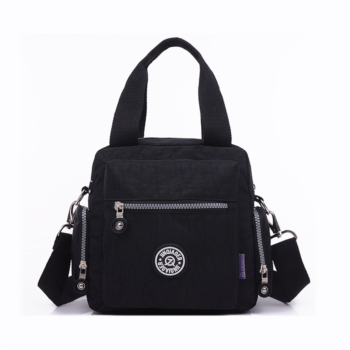 Tiny Chou Waterproof Nylon Top-handle Handbag Crossbody Messenger Bag with Detachable Shoulder Strap-Black