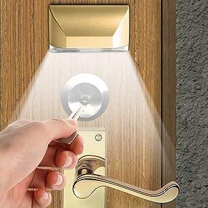 LED Intelligent Keyhole Light Lamp Door Lock Sensor Lamp - Battery Operated Auto Sensor Motion Detector with 4 LED for Key Hole/Door Lock