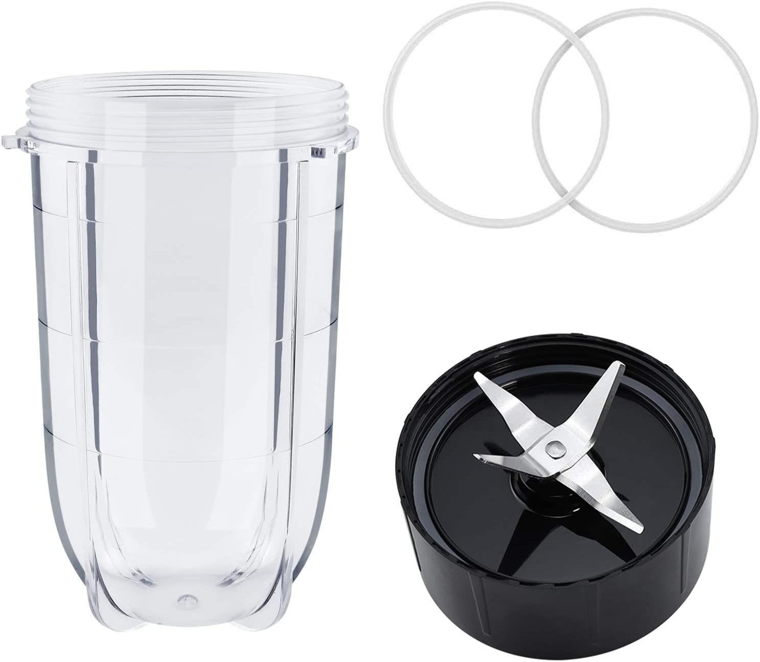 Beaquicy 16OZ Cup & Cross Blade & 2 Pcs Gaskets - Replacement for 250W Magic Bullet Blender Juicer/Mixer, MB1001 Series