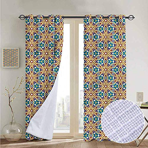 fengruiyanjing Draperies and Curtains Grommet Top for Living Room Bedroom, Arabic, Oval Lines Floral Elements (Set of 2 Panels)