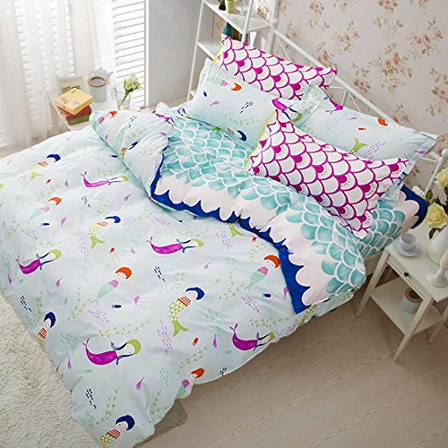 Children Bedding Set (Deerhome Soft Children Duvet Cover Set Blue wave Small mermaid pattern Reversible Boys Girls Bedding Set 3 Pieces with 2 Pillow Cases Best Bedding Gifts for Kids)