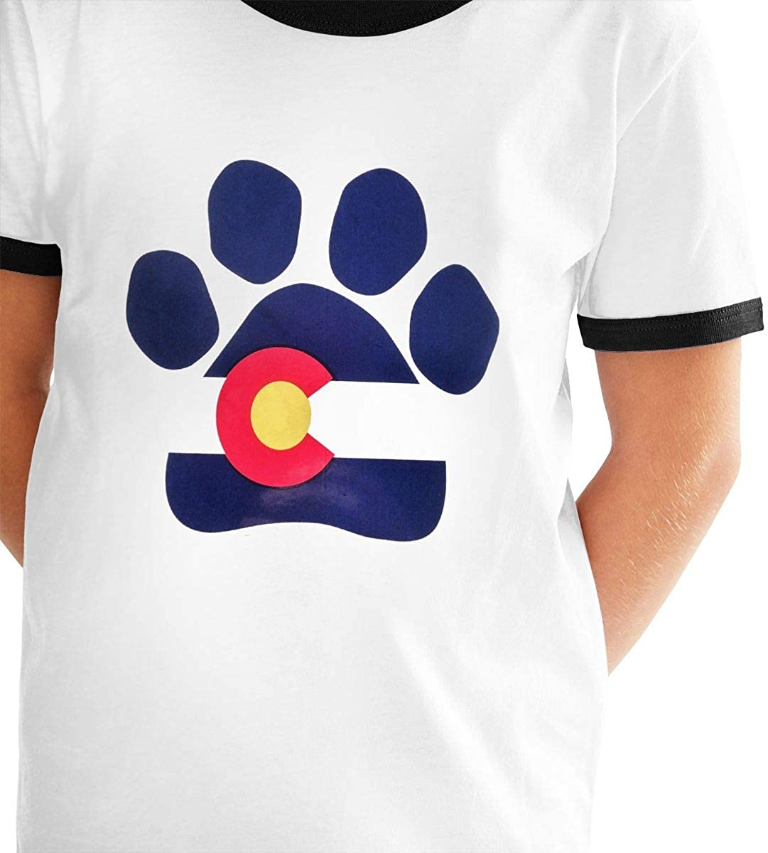 Kids Or Little Boys and Girls Paw Pattern Colorado Flag Unisex Childrens Short Sleeve T-Shirt